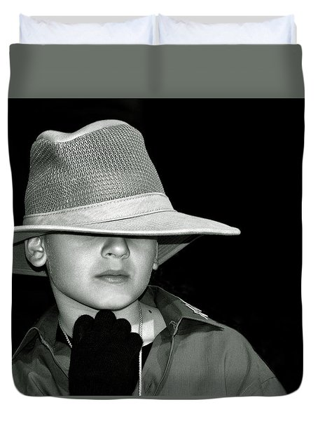 Portrait Of A Boy With A Hat Duvet Cover