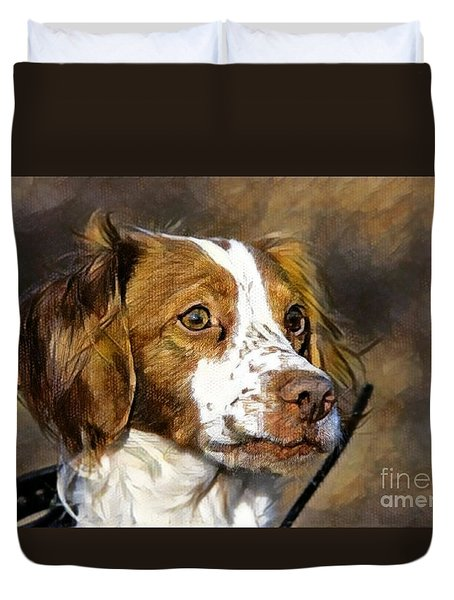 Duvet Cover featuring the photograph Portrait Of A Brittany - D009983-a by Daniel Dempster