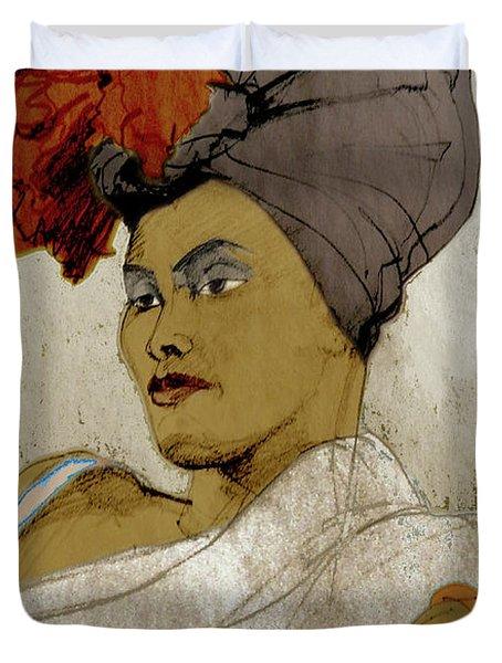 Portrait Of A Caribbean Beauty Duvet Cover
