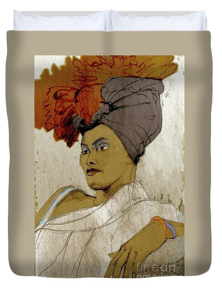 Portrait Of A Caribbean Beauty Duvet Cover