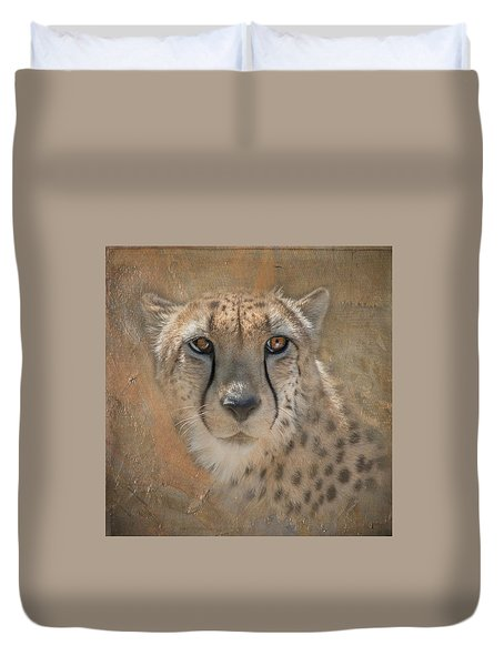 Portrait Of A Cheetah Duvet Cover