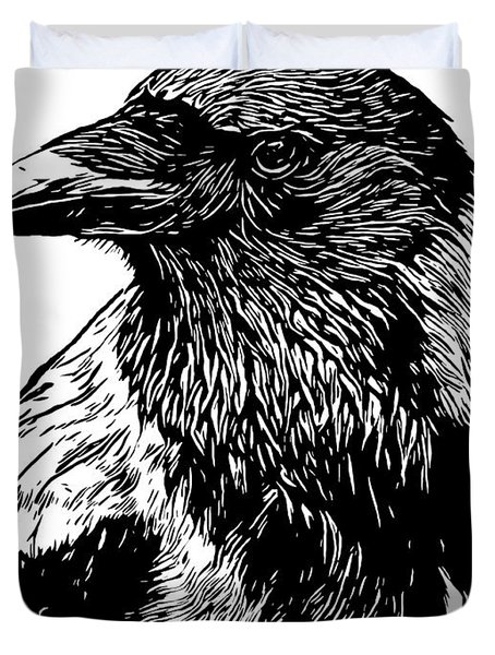 Portrait Of A Crow With Head Turned Looking In Black And White I Duvet Cover
