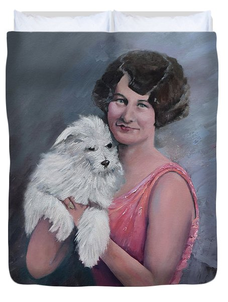 Maggie And Caruso -portrait Of A Flapper Girl Duvet Cover