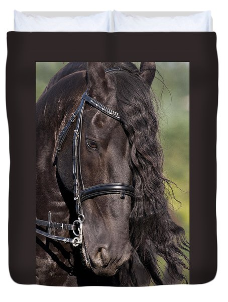 Duvet Cover featuring the photograph Portrait Of A Friesian D6438 by Wes and Dotty Weber