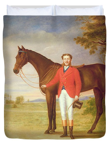Portrait Of A Gentleman With His Horse Duvet Cover