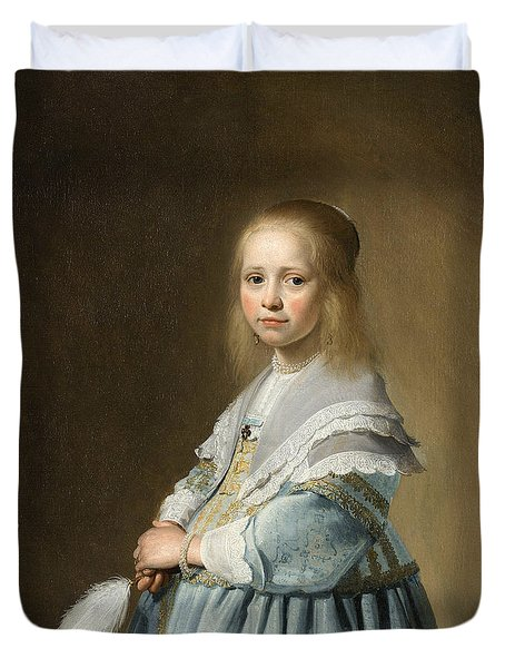 Portrait Of A Girl Dressed In Blue By J. Cornelisz Duvet Cover