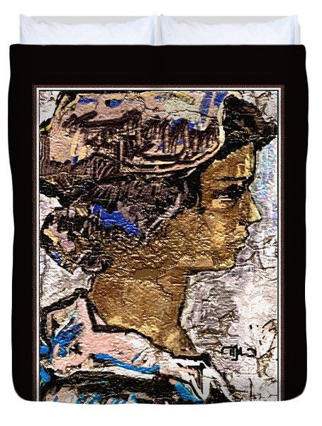 Duvet Cover featuring the digital art Portrait Of A Girl Pog2 by Pemaro