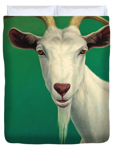 Duvet Cover featuring the painting Portrait Of A Goat by James W Johnson
