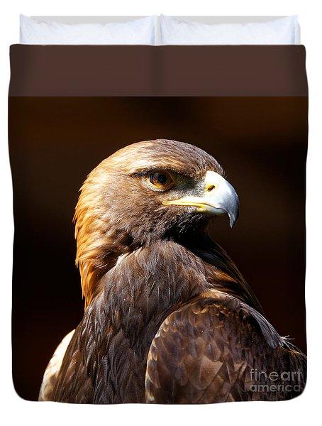 Duvet Cover featuring the photograph Portrait Of A Golden Eagle by Sue Harper
