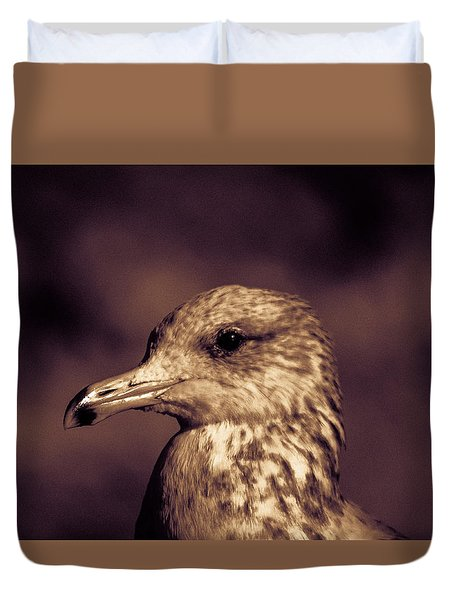 Duvet Cover featuring the photograph Portrait Of A Gull by Lora Lee Chapman