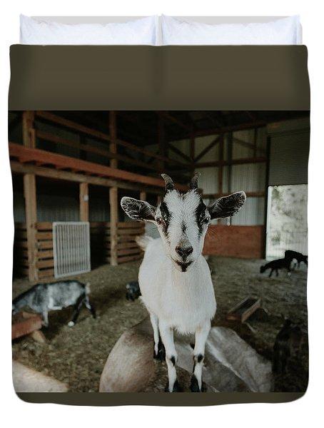 Portrait Of A Happy Goat Duvet Cover