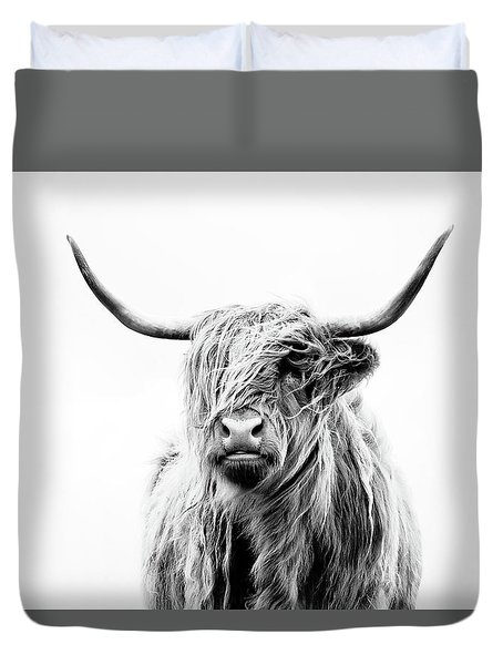 Portrait Of A Highland Cow Duvet Cover