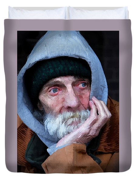 Portrait Of A Homeless Man Duvet Cover