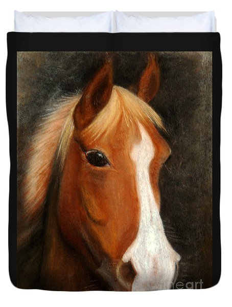 Portrait Of A Horse Duvet Cover by Jasna Dragun