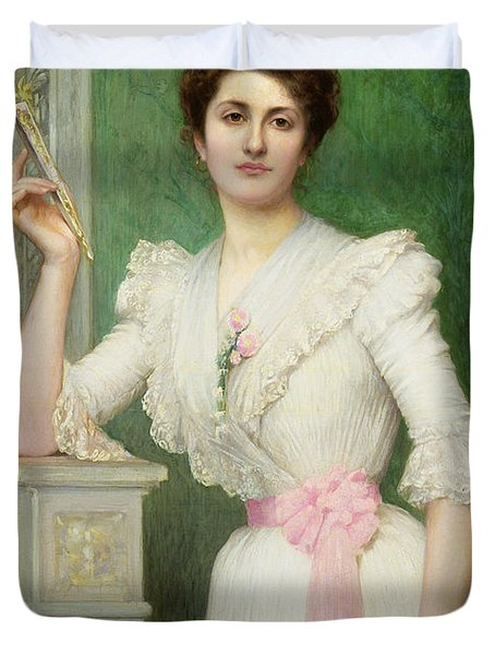 Portrait Of A Lady Holding A Fan Duvet Cover by Jules-Charles Aviat
