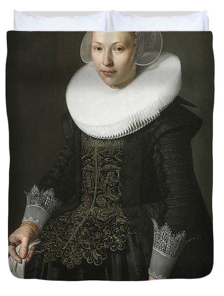 Portrait Of A Lady Duvet Cover by Nicolaes Eliasz