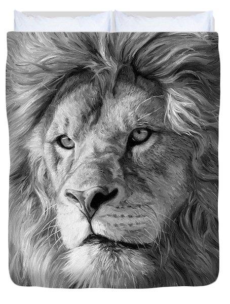 Portrait Of A Lion - Black And White Duvet Cover