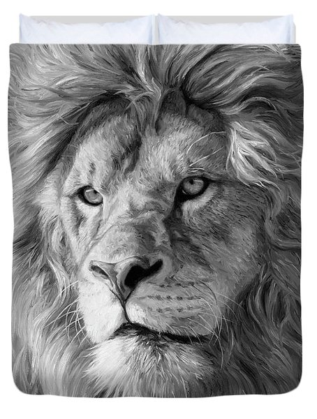 Portrait Of A Lion - Black And White Duvet Cover