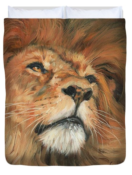 Duvet Cover featuring the painting Portrait Of A Lion by David Stribbling