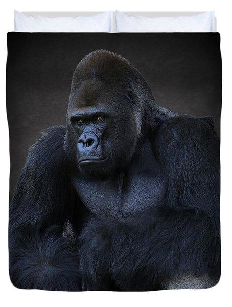 Portrait Of A Male Gorilla Duvet Cover