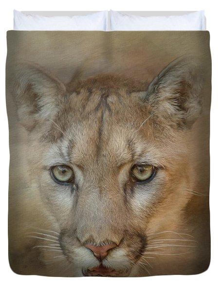 Portrait Of A Mountain Lion Duvet Cover
