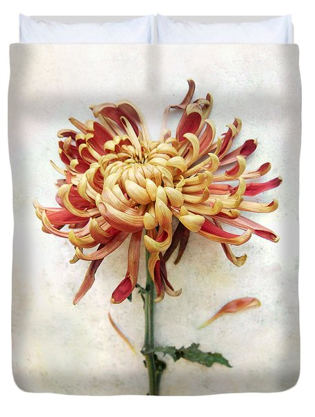 Duvet Cover featuring the photograph Portrait Of A Mum In Red And Gold by Louise Kumpf