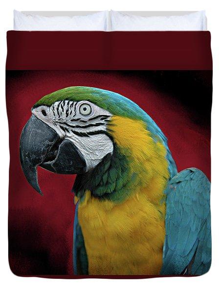 Duvet Cover featuring the photograph Portrait Of A Parrot by Jeff Burgess