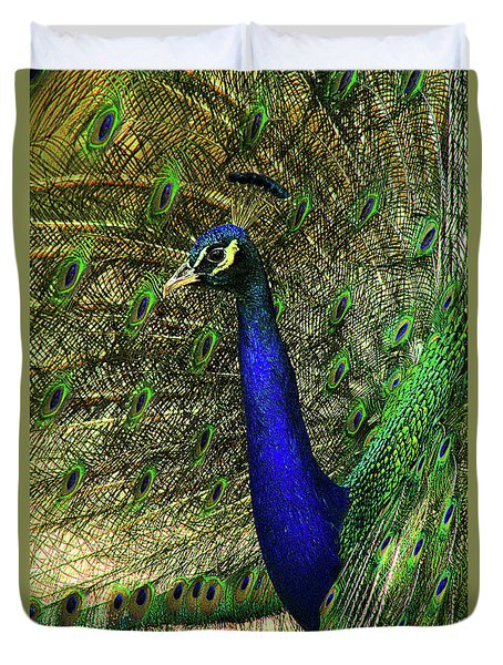 Duvet Cover featuring the photograph Portrait Of A Peacock by Jessica Brawley
