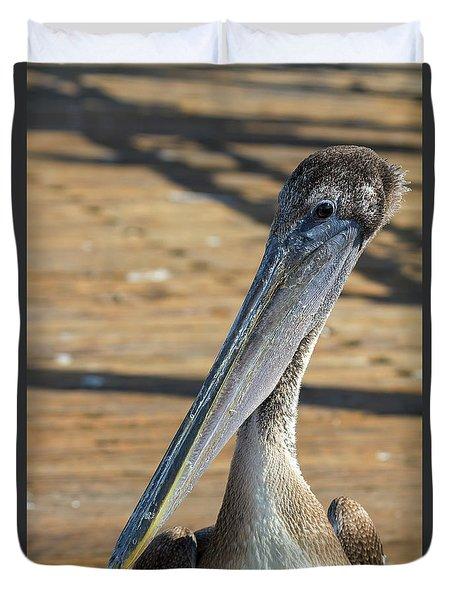 Portrait Of A Pelican On The Pier Duvet Cover