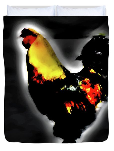 Portrait Of A Rooster Duvet Cover
