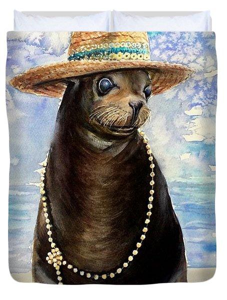 Portrait Of A Sea Lion Duvet Cover