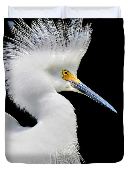 Portrait Of A Snowy White Egret Duvet Cover