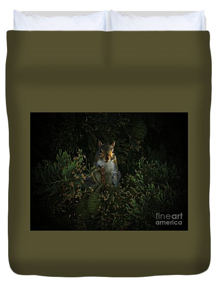Duvet Cover featuring the photograph Portrait Of A Squirrel by Lance Sheridan-Peel