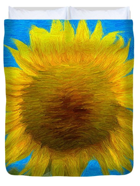 Portrait Of A Sunflower Duvet Cover