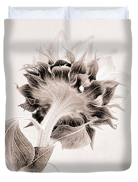 Duvet Cover featuring the photograph Portrait Of A Sunflower by Louise Kumpf