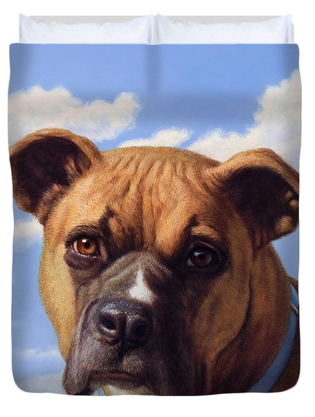 Duvet Cover featuring the painting Portrait Of A Sweet Boxer by James W Johnson