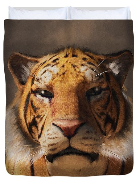 Portrait Of A Tiger Duvet Cover by Daniel Eskridge
