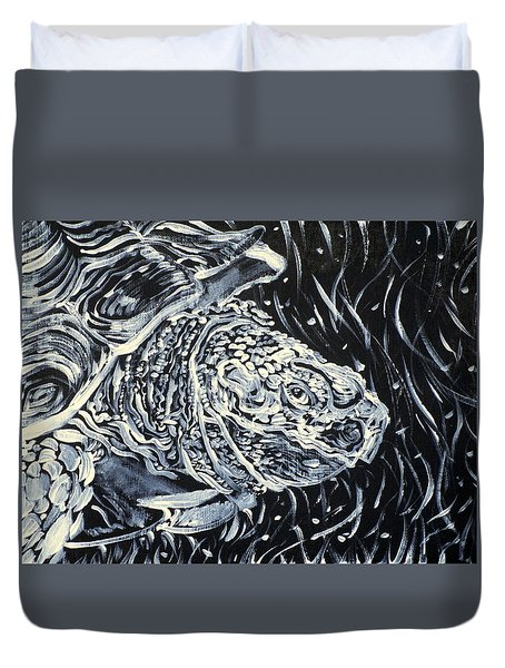 Duvet Cover featuring the painting Portrait Of A Turtle by Fabrizio Cassetta