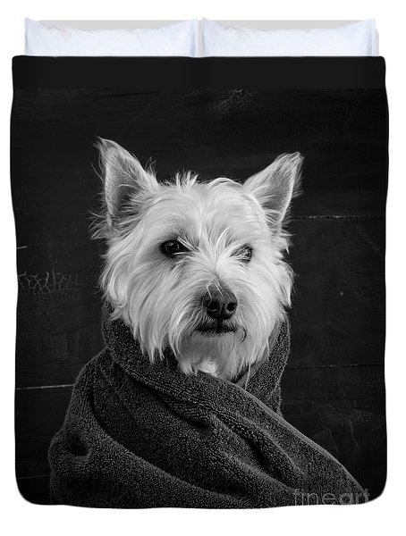 Duvet Cover featuring the photograph Portrait Of A Westie Dog by Edward Fielding