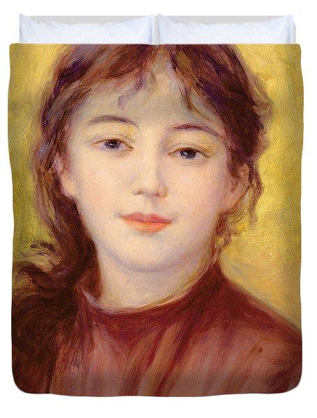 Portrait Of A Woman Duvet Cover by Pierre Auguste Renoir