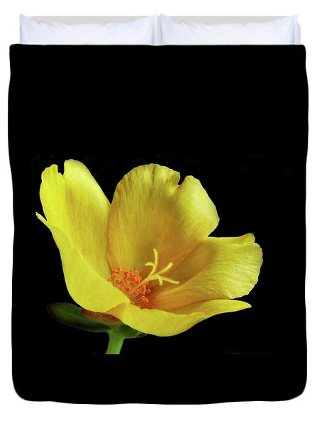 Duvet Cover featuring the photograph Portrait Of A Yellow Purslane Flower by David and Carol Kelly