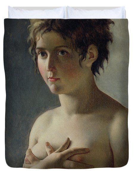 Portrait Of A Young Girl Duvet Cover by Baron Pierre Narcisse Guerin