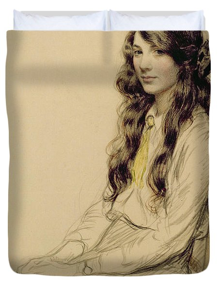 Portrait Of A Young Girl Duvet Cover by Frederick Pegram