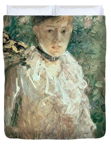 Portrait Of A Young Lady Duvet Cover by Berthe Morisot