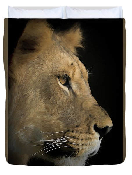Duvet Cover featuring the digital art Portrait Of A Young Lion by Ernie Echols