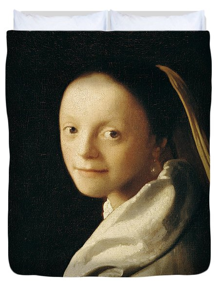 Portrait Of A Young Woman Duvet Cover by Jan Vermeer