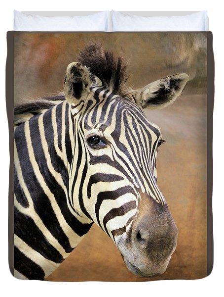 Portrait Of A Zebra Duvet Cover by Rosalie Scanlon
