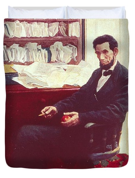 Portrait Of Abraham Lincoln Duvet Cover by Howard Pyle