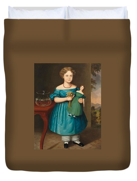 Portrait Of Amy Philpot In A Blue Dress With Doll And Goldfish Duvet Cover by Joseph Whiting Stock