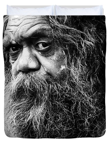 Portrait Of An Australian Aborigine Duvet Cover by Sheila Smart Fine Art Photography